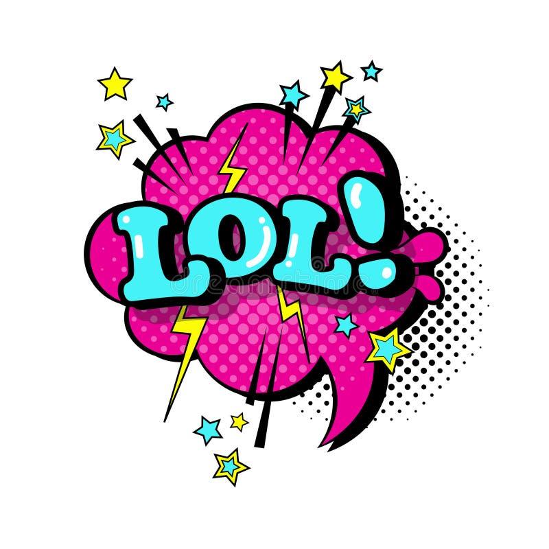 可笑的讲话闲谈泡影流行艺术样式Lol表示文本象 皇族释放例证