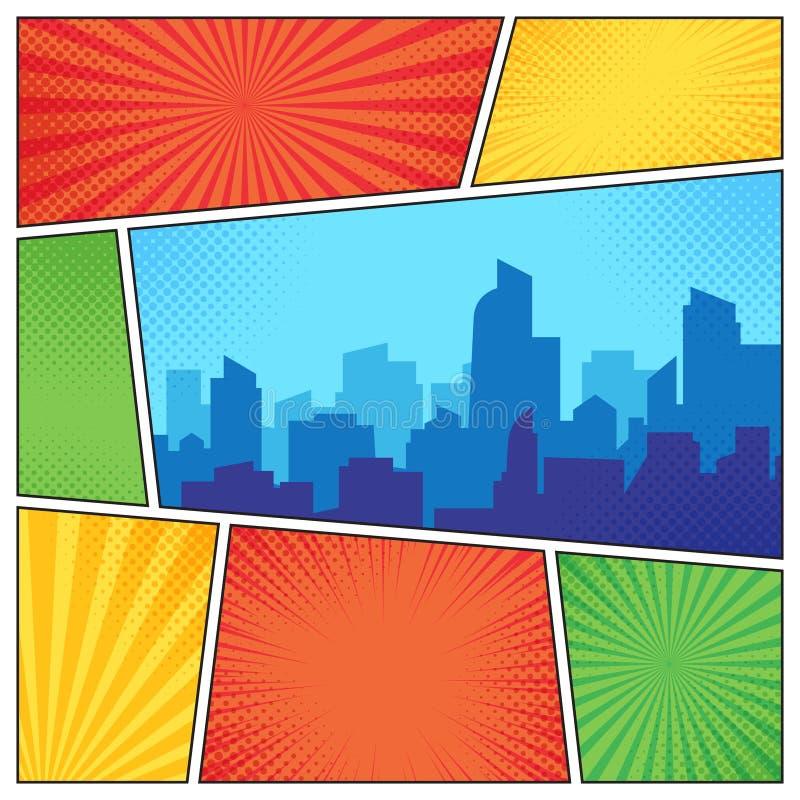 可笑的页的城市 漫画预定在小条中间影调背景的框架构成 动画片预定传染媒介模板布局 皇族释放例证