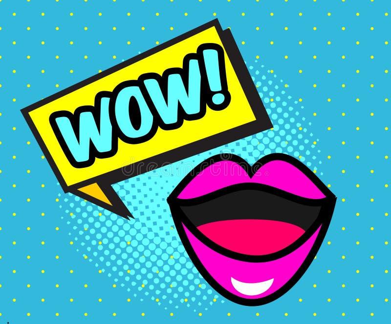 可笑的页 讲话泡影、妇女嘴唇和文本WOW 在流行艺术减速火箭的样式的传染媒介横幅 库存例证