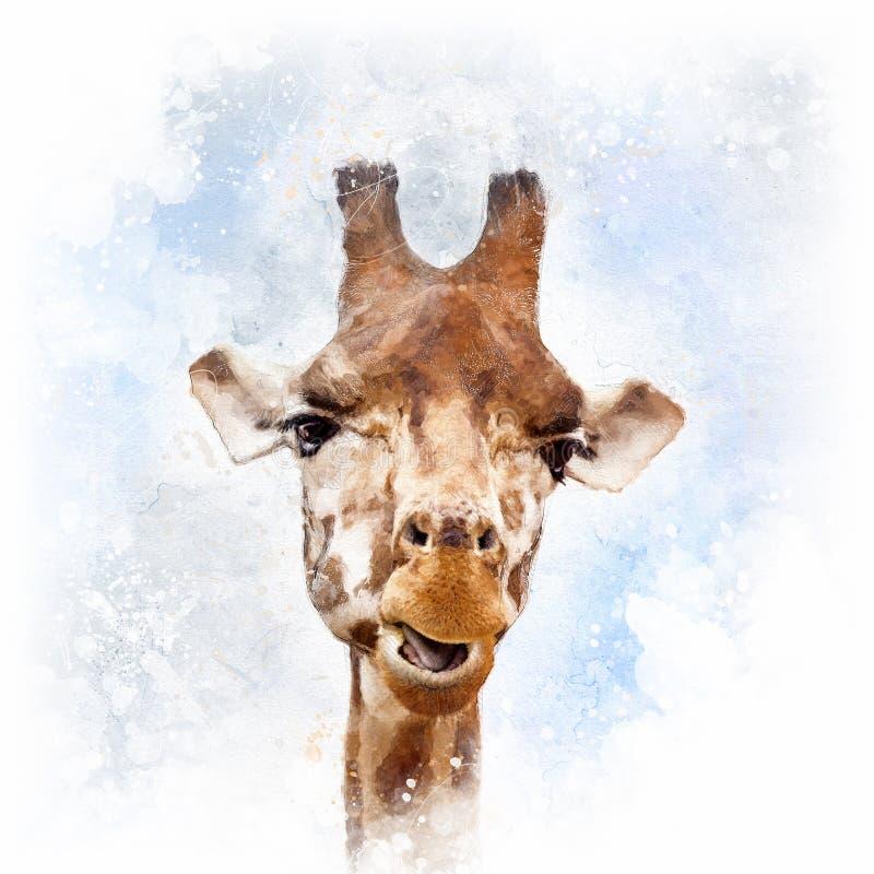 可笑长颈鹿画象 库存例证