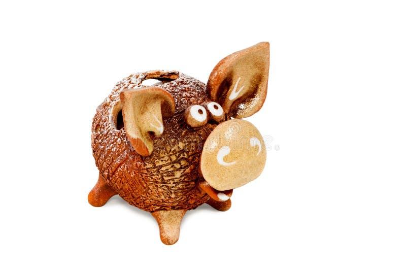 可笑陶瓷猪 免版税库存照片
