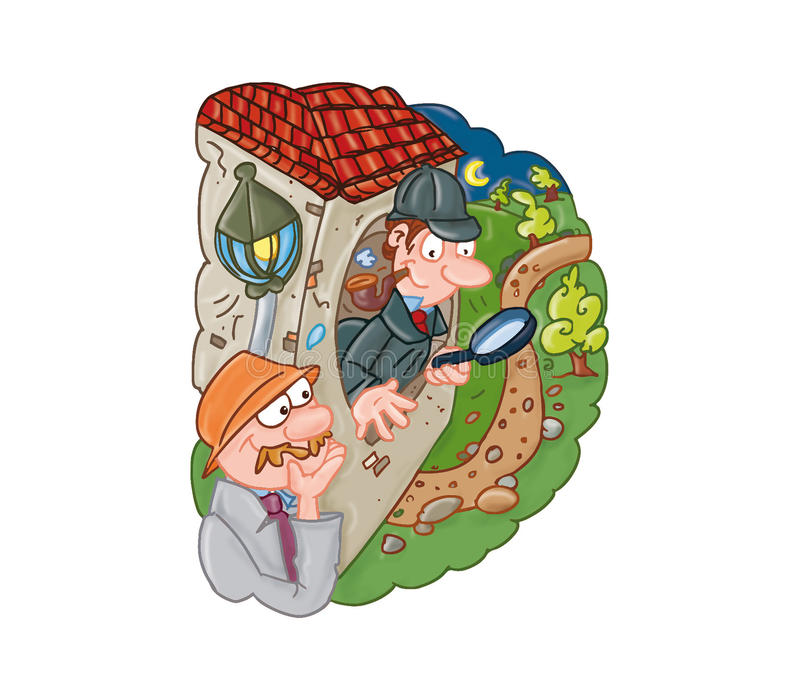 可笑Sherlock的holmes,孩子,男孩的avventuras 向量例证