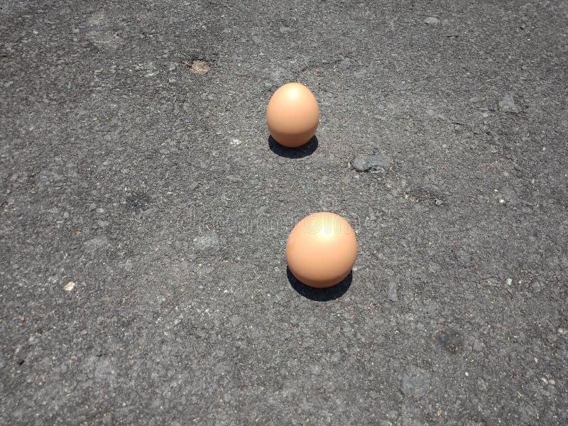 可能站立挺直的鸡蛋和他们的阴影笔直和很少发生 库存图片