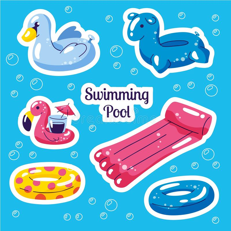 可膨胀的游泳的浮游物集合 逗人喜爱的水玩具火鸟,天鹅,敲响浮游物 海滩党传染媒介夏天贴纸 ?? 皇族释放例证
