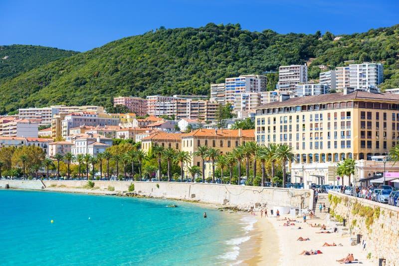 可西嘉岛法国海滩 免版税库存照片
