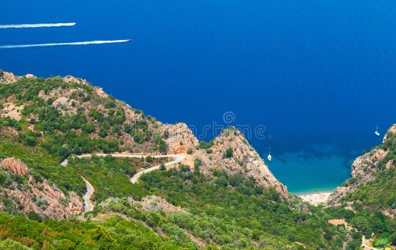 可西嘉岛海岛沿海风景  小的海滩 免版税库存照片