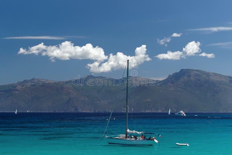可西嘉岛海岛西部海岸  免版税库存图片