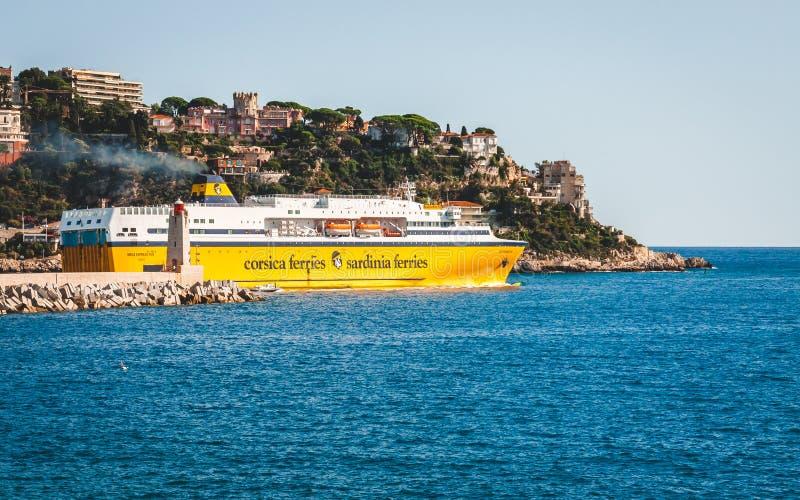 可西嘉岛-撒丁岛运送客船 免版税库存图片