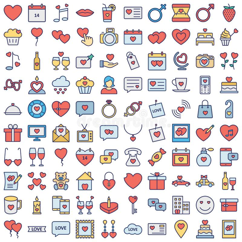 可轻松修改或编辑的爱和浪漫矢量图标集 库存照片