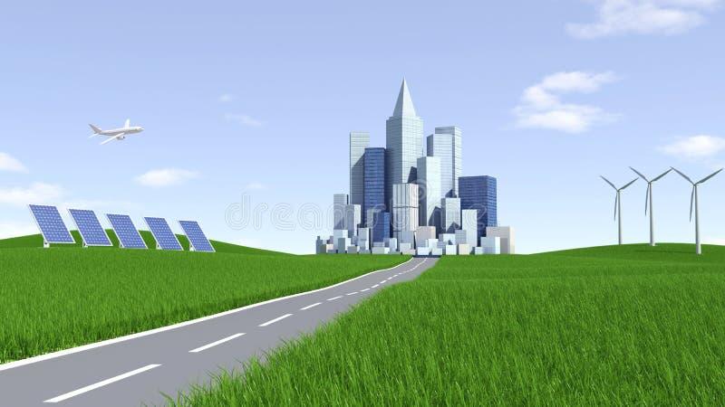 可选择能源。太阳电池板、风轮机和城市 库存例证