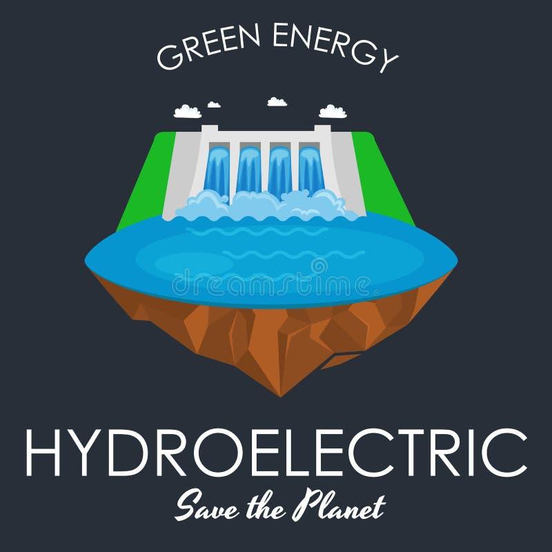 可选择能源电力工业,水力发电站在水生态概念,技术的工厂电 皇族释放例证