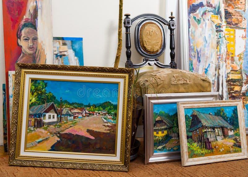 可贵的绘画收藏 免版税库存照片