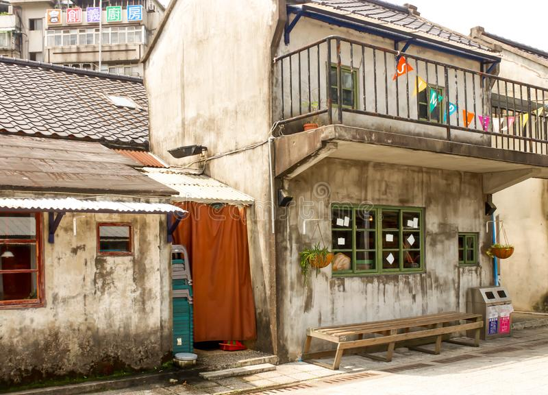 台中军事受抚养者村庄特写镜头视图在台湾 免版税库存图片