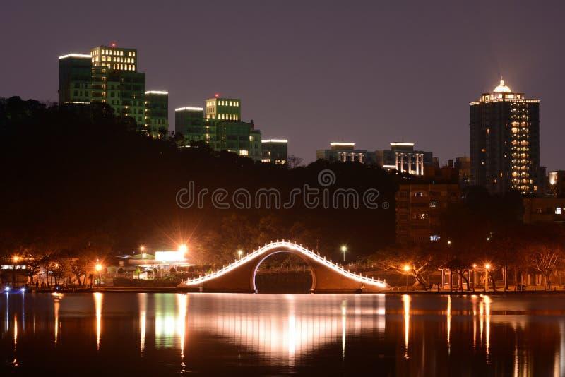 台北在Dahu Park湖的市地平线在晚上在台湾 图库摄影
