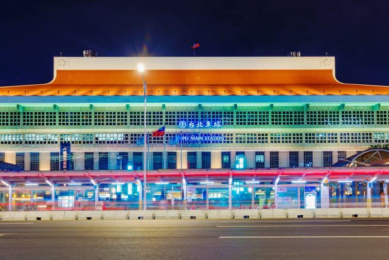 台北总台在晚上 免版税库存图片
