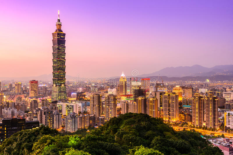 台北,台湾地平线 库存照片