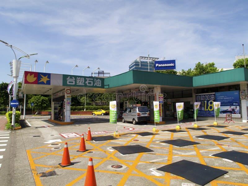 台塑集团在台北松山Airpo里面的加油站 免版税库存图片
