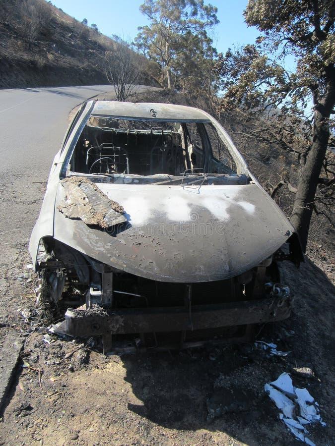 台山保护区火灾后汽车烧毁 免版税库存图片