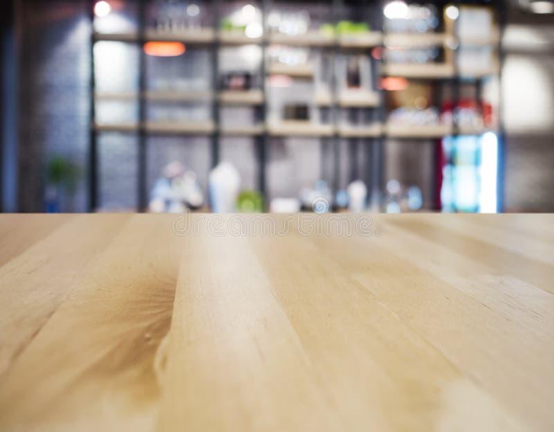 台式柜台酒吧餐馆内部弄脏了背景 免版税库存图片