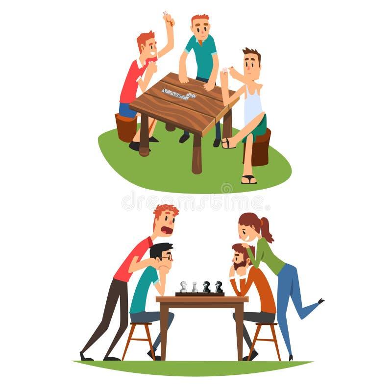 台式游戏机设置了,下多米诺和棋的朋友 向量例证
