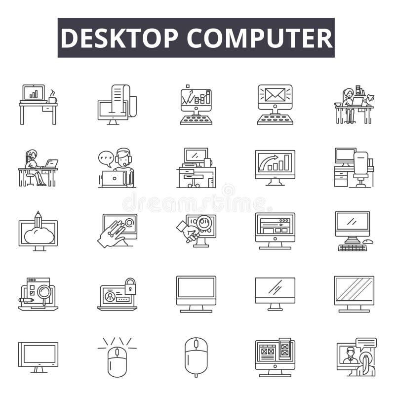台式电脑线象,标志,传染媒介集合,概述例证概念 库存例证