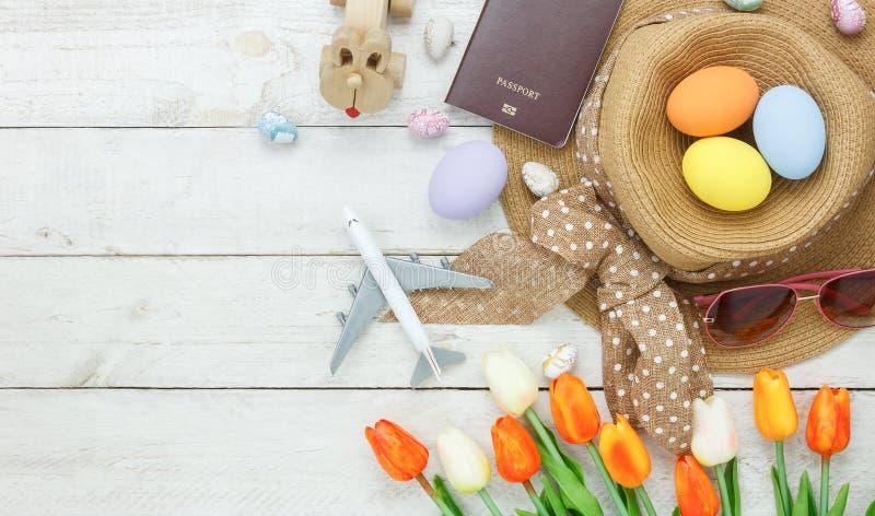 台式视图射击了装饰愉快的复活节假日 免版税库存图片