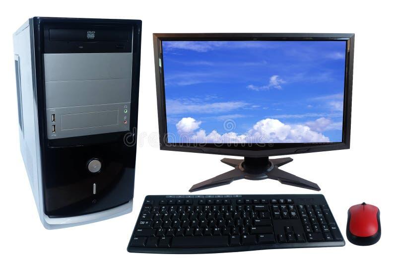 台式计算机个人计算机集合、在白色和无线老鼠隔绝的显示器、键盘 免版税库存照片