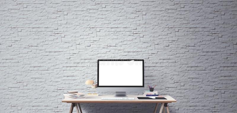 台式计算机屏幕 现代创造性的工作区背景 正面图 库存图片