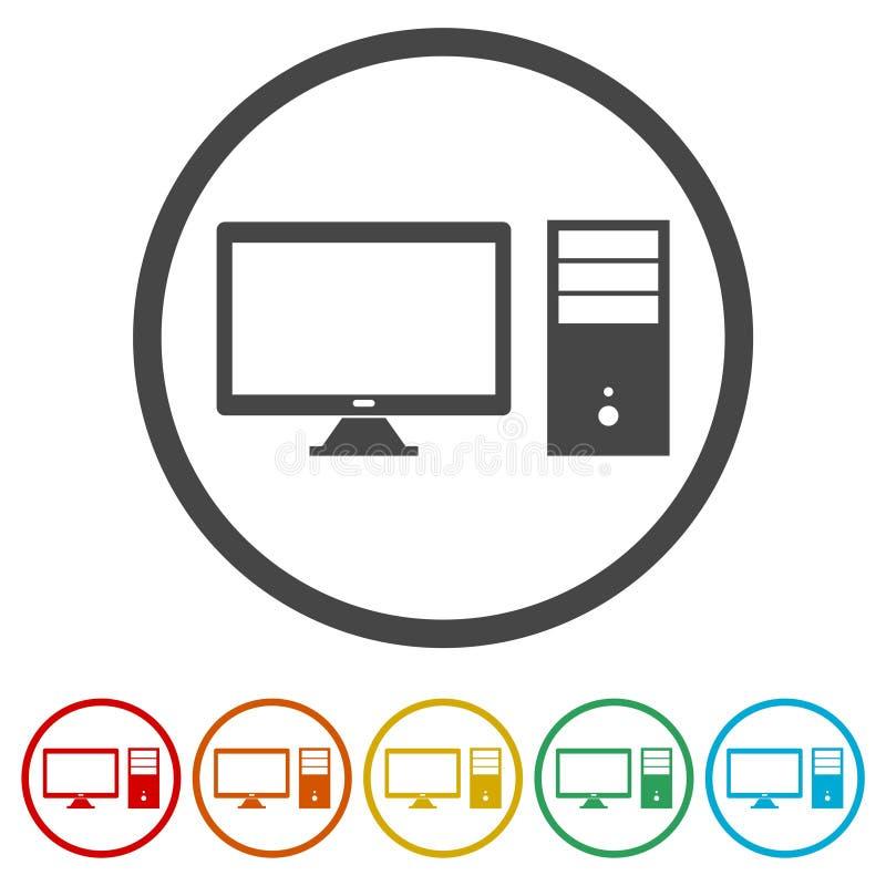 台式计算机象,包括的6种颜色 皇族释放例证