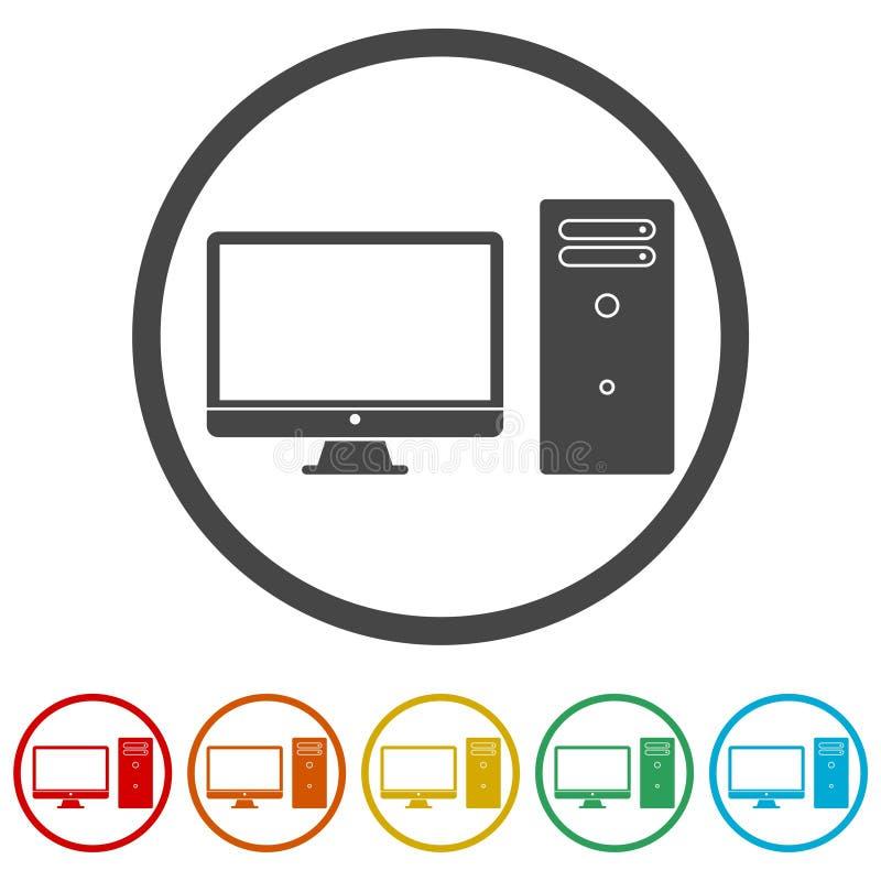 台式计算机象,包括的6种颜色 向量例证