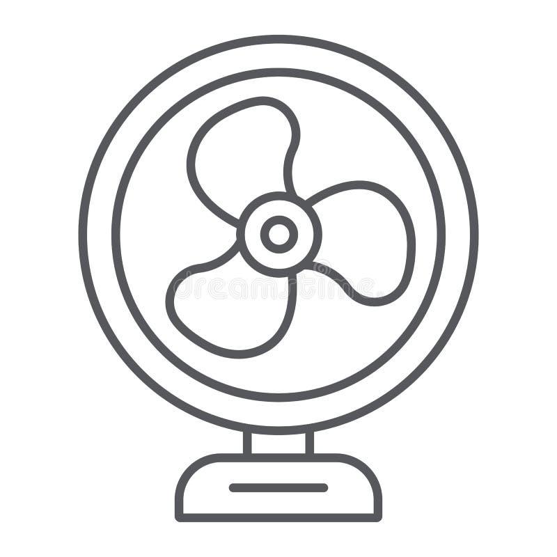 台式风扇稀薄的线象,推进器和电,空气冷却器标志,向量图形,在白色的一个线性样式 库存例证