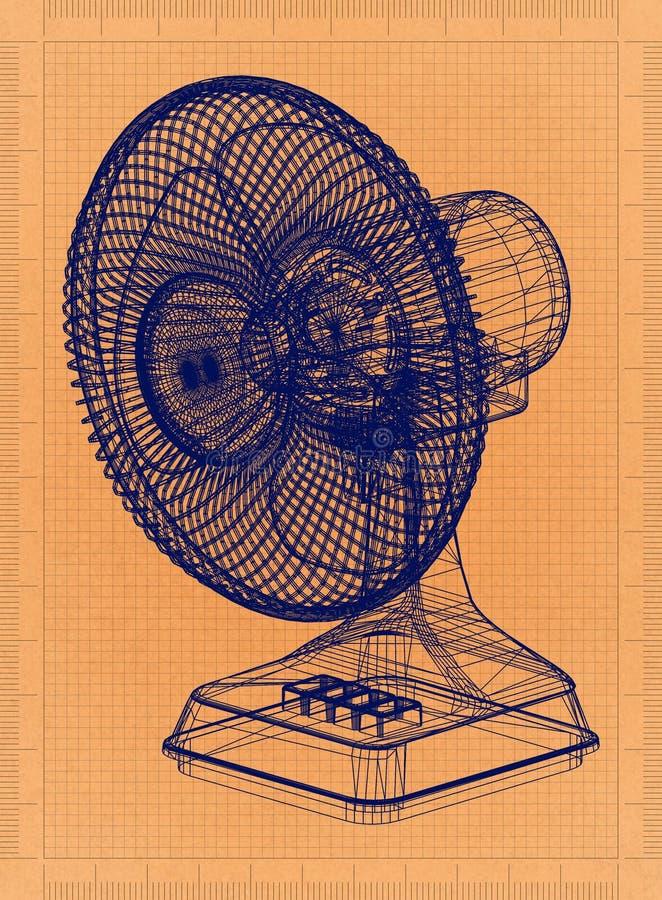 台式风扇-减速火箭的图纸 向量例证