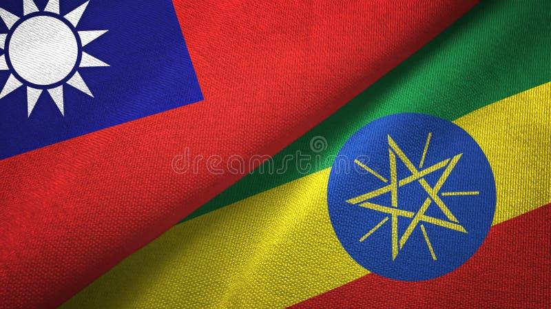 台湾和埃塞俄比亚两旗子纺织品布料,织品纹理 向量例证
