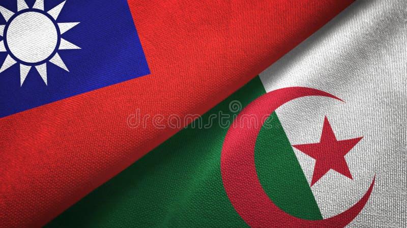 台湾和阿尔及利亚两旗子纺织品布料,织品纹理 向量例证