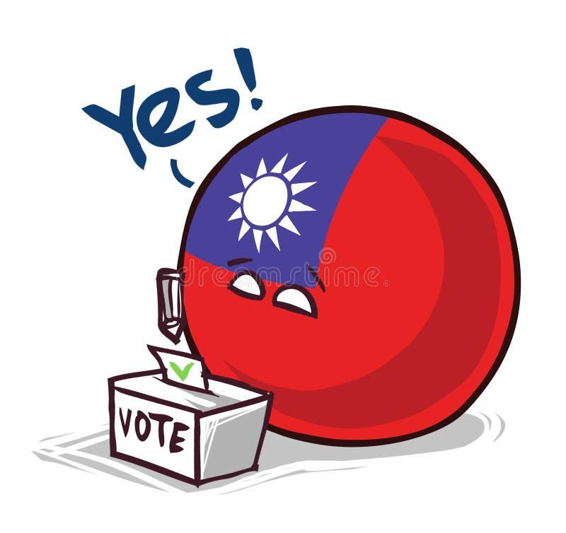 台湾投赞成票国家的球 向量例证