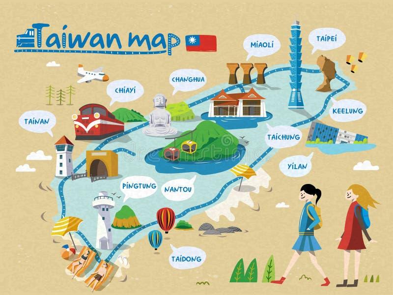 台湾旅行地图 免版税库存照片
