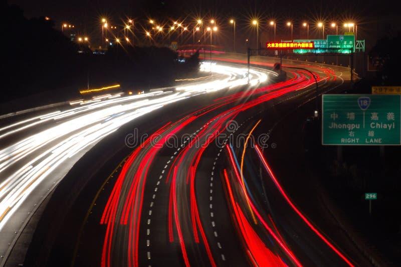 台湾高速公路夜视图  免版税库存照片