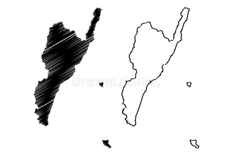 台湾,中华民国,ROC,县台东县管理部门映射传染媒介例证,杂文剪影 向量例证