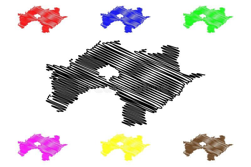 台湾,中华民国,ROC,县嘉义县管理部门映射传染媒介例证,杂文剪影 向量例证