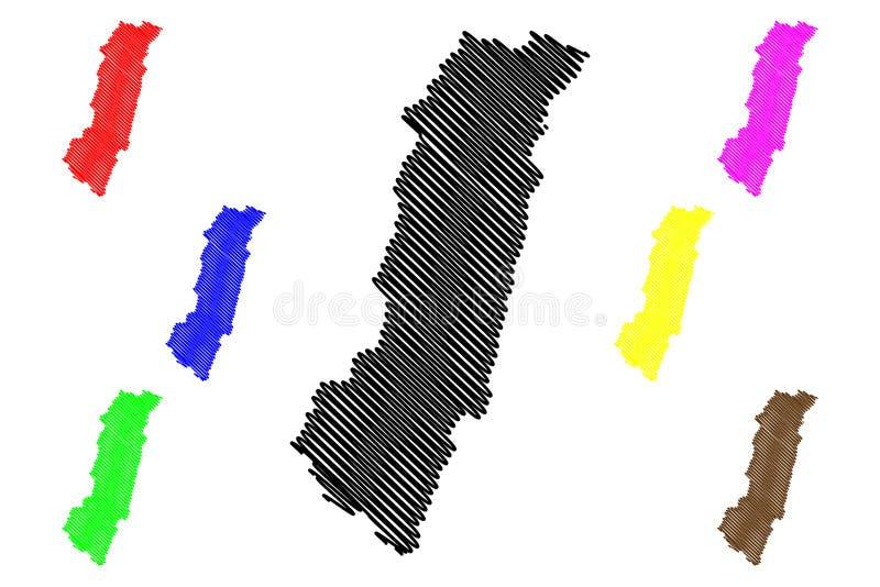 台湾,中华民国,ROC,县花莲县管理部门映射传染媒介例证,杂文剪影 库存例证
