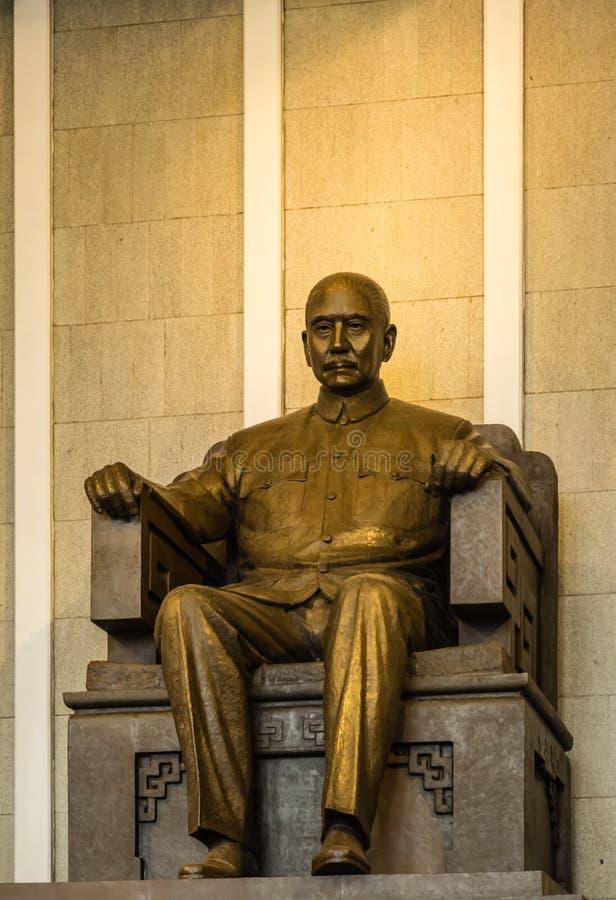 台湾,台北01 2017年9月:孙逸仙坐在纪念堂的图 图库摄影