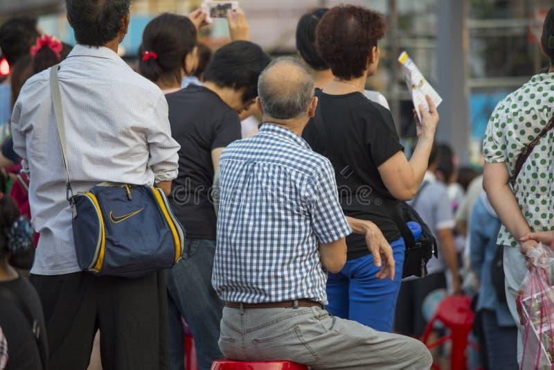 台湾` s寺庙节日,狂欢节,人群,观看展示 库存图片