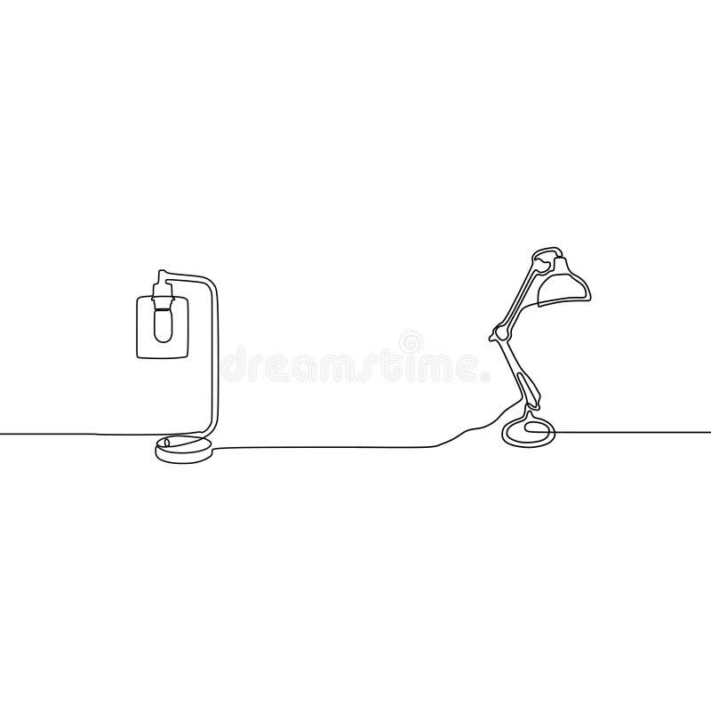 台灯和台灯实线灯传染媒介 概述套在白色背景网络设计的灯象隔绝的 皇族释放例证