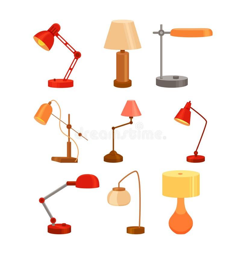 台灯集合现代动画片五颜六色的传染媒介例证 向量例证