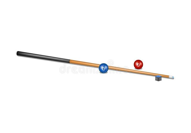 台球暗示、白垩块和撞球 皇族释放例证