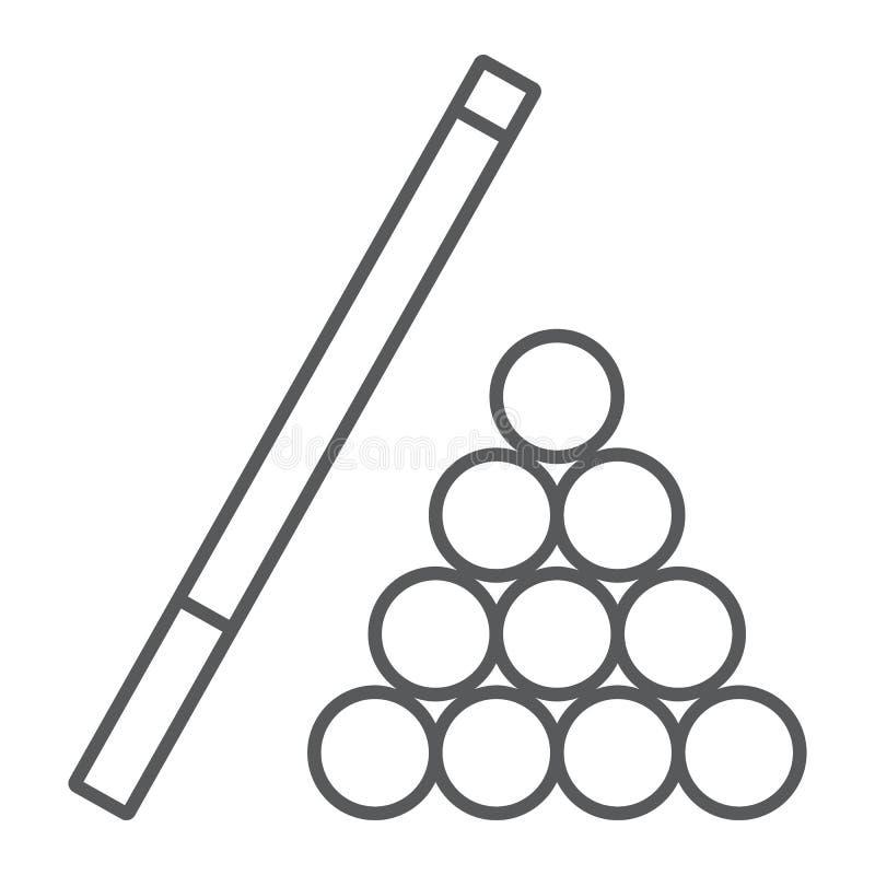 台球稀薄的线象,比赛和体育,水池标志 皇族释放例证