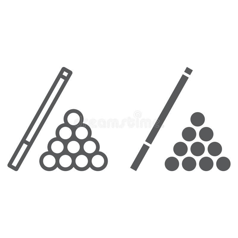 台球线和纵的沟纹象、比赛和体育,水池标志,向量图形,在白色背景的一个线性样式, 皇族释放例证