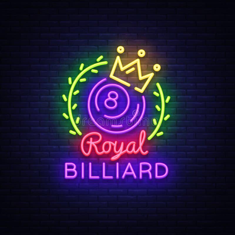 台球霓虹灯广告 在霓虹样式,轻的横幅,设计模板象征夜台球的皇家台球商标,明亮 库存例证