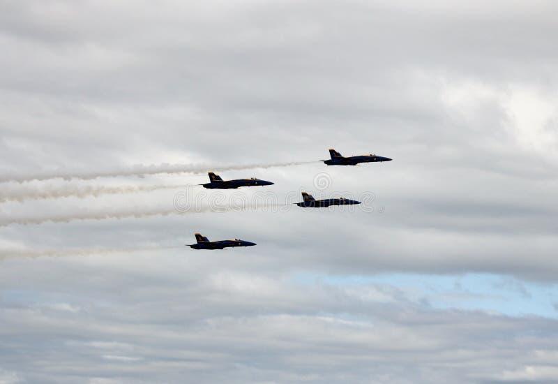 4台蓝色天使喷气式歼击机 免版税库存图片
