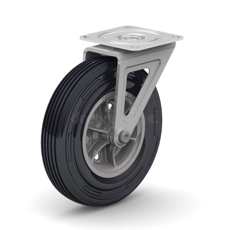台车轮子 背景查出的白色 库存例证